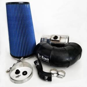 No Limit Fabrication - No Limit Fabrication 6.4 Cold Air Intake 08-10 Ford Super Duty Power Stroke Polished Oiled Filter for Mod Turbo 5 Inch Inlet No Limit Fabrication 64CAIO5