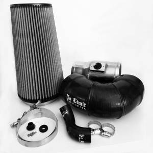 No Limit Fabrication - No Limit Fabrication 6.4 Cold Air Intake 08-10 Ford Super Duty Power Stroke Polished Dry Filter for Mod Turbo 5 Inch Inlet No Limit Fabrication 64CAID5