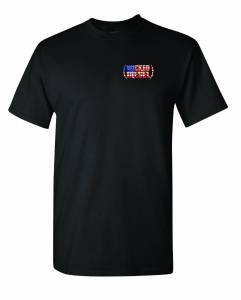 Black Short Sleeve Wicked Diesel T-Shirt with Red, White & Blue Logo