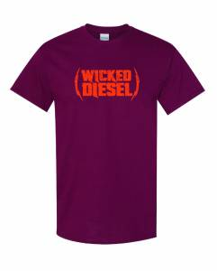Wicked Apparel - Maroon & Orange Short Sleeve Wicked Diesel T-Shirt