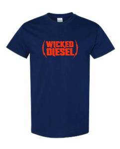 Wicked Apparel - Navy Blue & Orange Short Sleeve Wicked Diesel T-Shirt