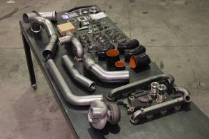 H&S Motorsports - H & S 11-16 Ford 6.7L Turbo Kit W/O Turbo (Divided) - Textured Black Powdercoat Pipe Finish