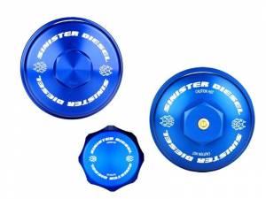 Engine Parts - Oil System - Sinister Diesel - Sinister Diesel Billet Blue Cap Kit for Ford Powerstroke 2008-2010 6.4L SD-BCK-6.4
