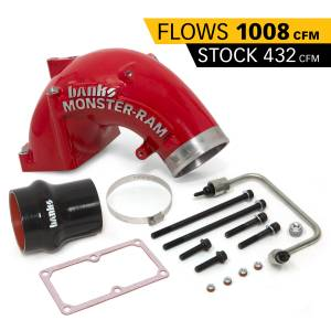 Engine Parts - Parts & Accessories - Banks Power - Banks Power Monster-Ram Intake Elbow W/Fuel Line and Hump Hose 4 Inch Red Powder Coated 07.5-18 Dodge/Ram 2500/3500 6.7L 42790-PC