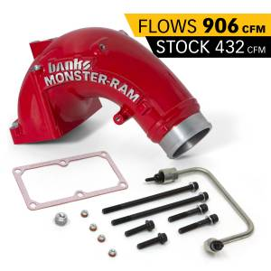 Engine Parts - Parts & Accessories - Banks Power - Banks Power Monster-Ram Intake Elbow Kit W/Fuel Line 3.5 Inch Red Powder Coated 07.5-18 Dodge/Ram 2500/3500 6.7L 42788-PC